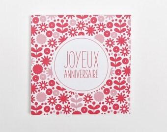 Card 'Happy birthday' jam pink pattern