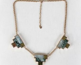 Colorblock pendant necklace - rust