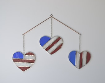 Stained Glass Red White and Blue American Flag Hearts