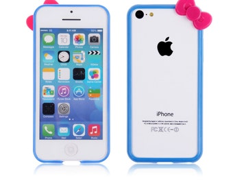 Hand Crafted Hello Kitty Bow Bumper for iPhone 4 Blue with Red Bow