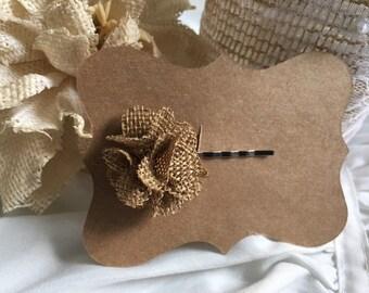 Burlap Flower Bobby Pin
