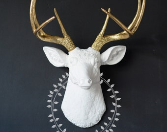 faux taxidermy, home decor, deer head, faux deer head, deer head wall decor, faux taxidermy deer, deer, deer wall decor, deer wall hanging