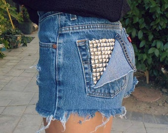 High Waisted Denim Jean Shorts Pocker studded