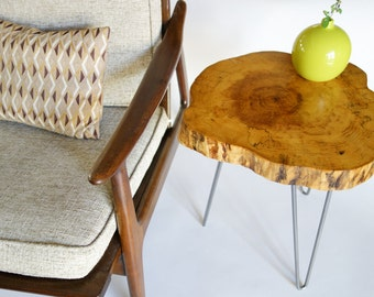 Artisan log slice table, tree trunk table, tree slice table, live edge side table, FREE shipping via FEDEX!!