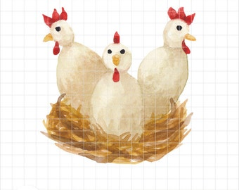 Three French Hens Watercolor Clipart - Twelve Days of Christmas Illustration - Instant Download - Chickens on Nest Printable Art by PNG-Me