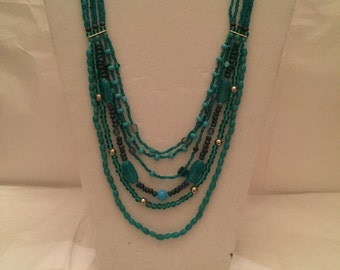 Multi Strand Aqua Beaded Necklace