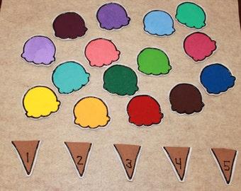 Ice Cream Counting Felt Activity Preschool Educational Toy