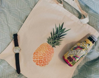 Cotton Canvas tote bag pineapple fruit food orange green print