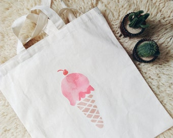 Cotton Canvas tote bag ice cream print pink cotton