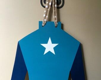 Blue jockey silk