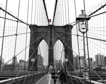 Brooklyn Bridge Black and White , New York City, NYC, New York, Digital Photography, City Photography, Architecture, Bridge Photo, Art