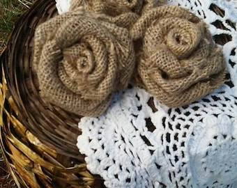 Burlap Rose Set of 3