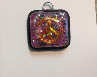 Epoxy peace sign necklace charm