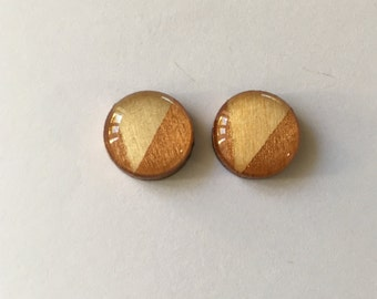12mm Copper Triangle Glossy Wood/Resin Studs