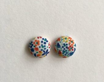 15mm Fabric Studs • Spring Floral • Surgical Steel • fabric stud earrings • button studs • button earrings