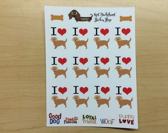 I Heart Golden Retriever Planner Stickers