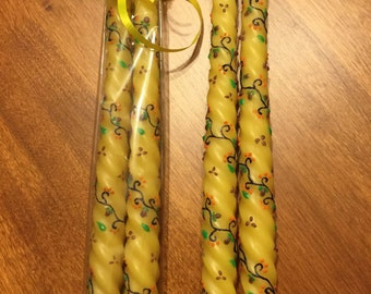 Hand-Decorated Beeswax Tapers