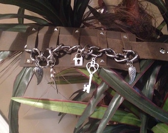 leather armband with chain and charms