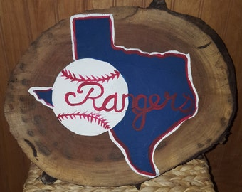 Texas Rangers (walnut wood sign)