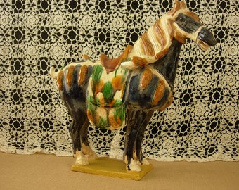 "Tang Horse Fire Glazed Ceramic 14"" TALL"