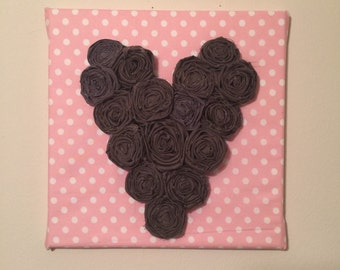 Fabric Canvas with Hand-made Fabric Rosettes