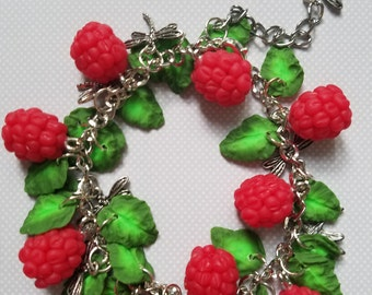 Red raspberries and green leaves bracelet polymer clay