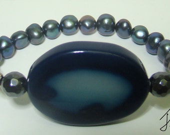 Blue Agate and fresh water pearl