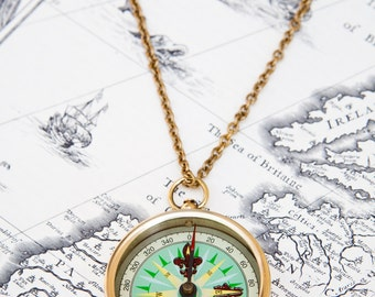 Mint and Brass Compass Pendant