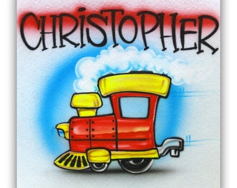 Airbrush Red Train T-shirt, Airbrush Train tshirt, Airbrush tshirt, Train T-shirt, Train, Kids Train T-shirt, Airbrush Train