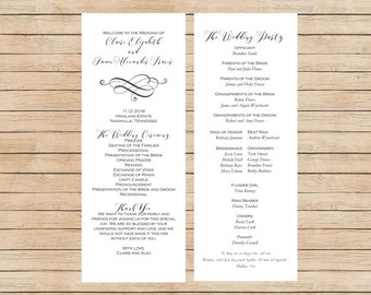 Traditional Wedding Program, Printable Wedding Program, White Wedding Program, Customizable Wedding Program