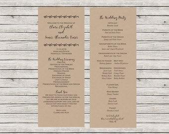 Rustic Wedding Program, Printable Wedding Program, Kraft Paper Wedding Program, Customizable Wedding Program