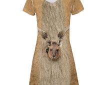 Halloween Kangaroo Costume All Over Juniors V-Neck Dress