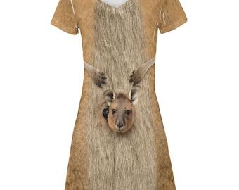 Halloween Kangaroo Costume All Over Juniors Beach Cover Up Dress