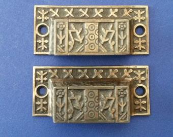 Antique Drawer Pulls Pair/2, Eastlake Windsor Pattern, Cast Iron ca. 1880, Pair of 2 Each