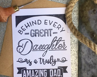 Father's Day Card - Hand Pressed