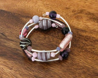 Purple glass bead memory wire bracelet