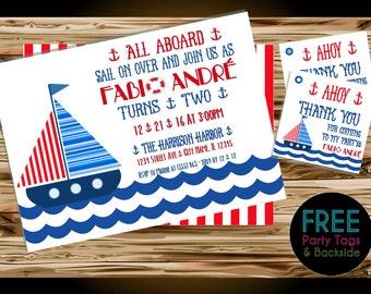 """All Aboard """"Sail"""" Boy Birthday Invitations Digital File"""