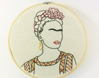 "Frida Kahlo outline portrait 8"" embroidery hoop art"