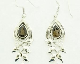 Smoky Quartz in Sterling Silver Earrings