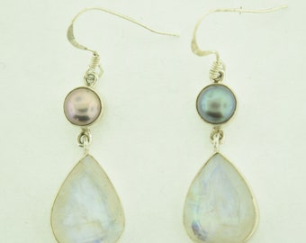 Moon Stone and Perl Earrings in sterling silver
