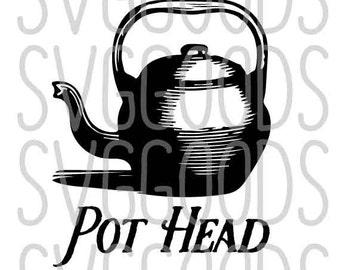 Pot head dxf, Pothead dxf, tea kettle dxf, coffee pot dxf, coffee dxf, tea dxf, pot dxf, tea pot dxf dxf, funny dxf, mug dxf, cricut