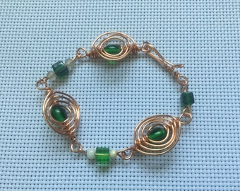 Green and copper wire wrapped Bracelet