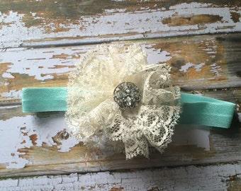 Antique Lace Flower Baby Headband | Rhinestone Center