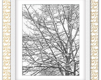 Tree Painting Gift Branches Art Gift Large Wall Artwork Nursery Forest Branch Decor Botanical Art Gift Nature Wall Idea Interior Digital Art
