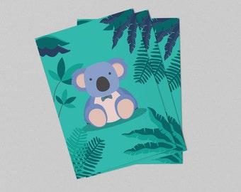 Displays green koala for child