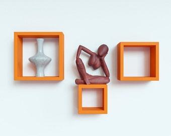DecorNation Floating Wall Shelf Rack Set Of 3 Nesting Square Wall Shelves - Orange