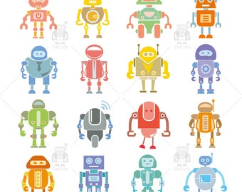 Robots Clip Art Vector, Friendly Robot Instant Download
