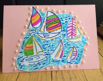 SAIL BOAT CARDS/Lilly Pulitzer Stationary/Lilly Pulitzer Fabric/Lilly Pulitzer Inspired Note Cards/Thank You Cards