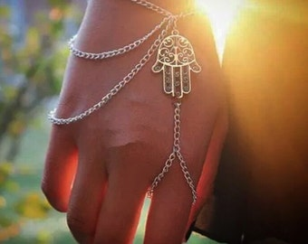 Silver Hamsa chain link Bracelet with Ring