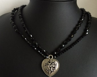 Bavarian Heart and Black Stone Beads Necklace